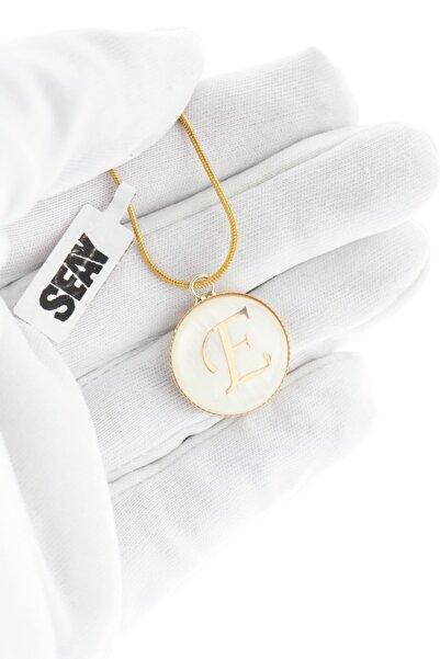 Seay E Harfi Isim Baş Harfi Kolye Altın Kaplama Zincir 60cm Zincir Dahil