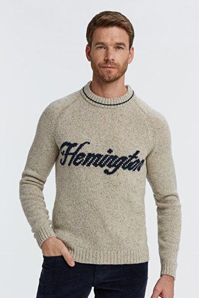 Hemington Erkek Bej Logolu Yün Kazak