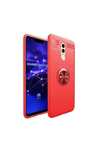 Huawei Teleplus Mate 20 Lite Ultra Soft Ravel Yüzüklü Silikon Kılıf Kırmızı + Nano Ekran Koruyucu