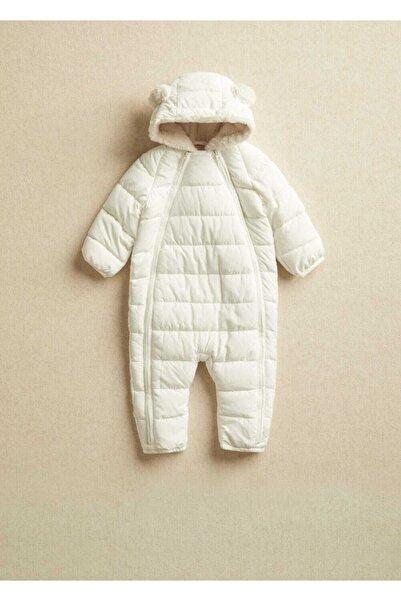 MANGO Baby Unisex Bebek Kırık Beyaz Kapitoneli Tulum