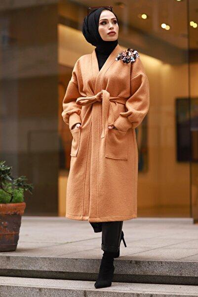 Moda Sahra Kadın Kiremit Pul Detaylı Tesettür Kaban