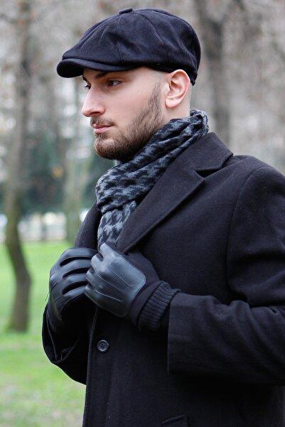 Bay Şapkacı Erkek Siyah Yünlü Kasket 7440siy