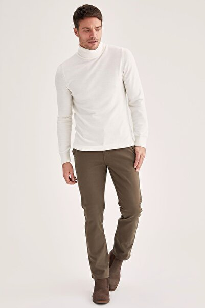 DeFacto Erkek Olıve Regular Fit Basic Pamuklu Chino Pantolon T1052AZ21SP