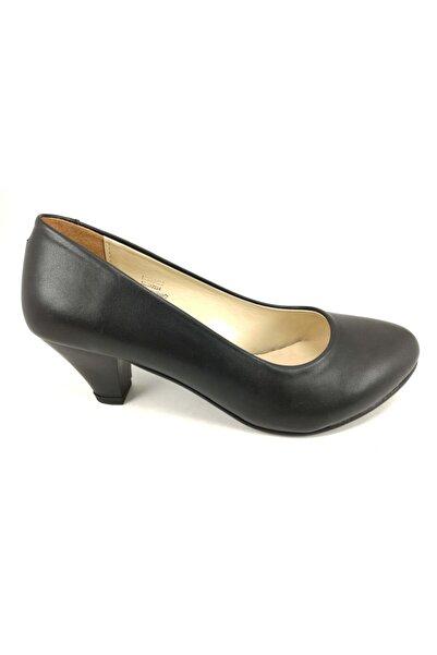 Annamaria Mat Siyah Kısa Fındık Topuklu Bayan Ayakkabı