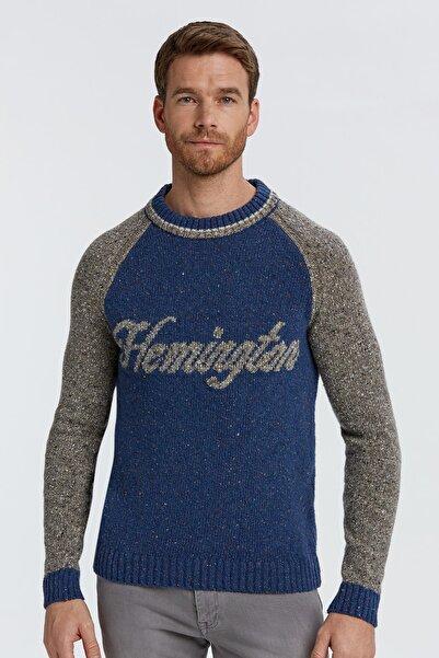 Hemington Erkek Koyu Mavi Logolu  Yün Kazak