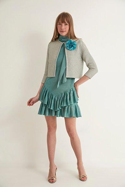 JOIN US Kadın Yeşil Çiçekli İnci Düğmeli Triko Ceket