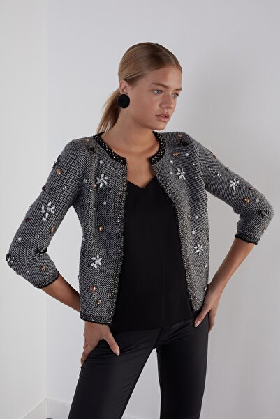 JOIN US Kadın Siyah Taş İşlemeli 3/4 Kol Triko Ceket