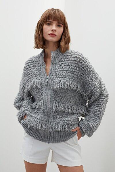 JOIN US Kadın Gri Püsküllü Fermuarlı Triko Ceket