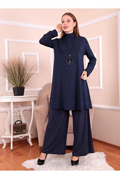 Mankens Fashion Kadın Lacivert Basic Büyük Beden Tunik