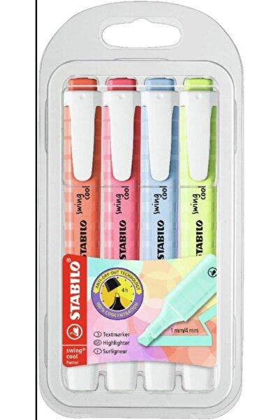 Stabilo Swing Cool Yeni Renkler 4'lü Set Textmarker Highlighter Anti-kuruma Teknolojisi