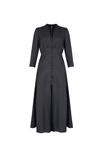 RİVUS Kadın Siyah Petunıa Önden Düğmeli Saten Midi Elbise