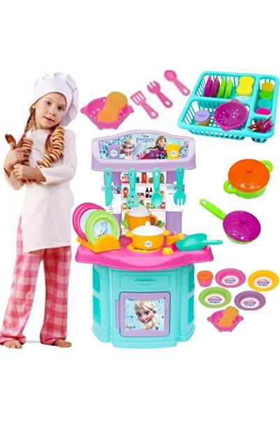 Dede Oyuncak Karlar Ülkesi Oyuncak Büyük Boy Mutfak Seti + Frozen Bulaşıklık Kız Çocuk Oyuncak Mutfak Set