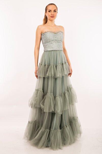 Elbisemhazır Kadın Firuze Straplez Yaka Prenses Kalıp Kat Kat Tül Etek Abiye