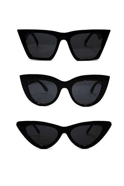 ModaLucci Kadın Güneş Gözlüğü 3 Lü Set Catset3sıyah