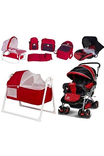Aisa Lüks Bebek 8'li Beşik Seti Beşik Çift Yönlü Bebek Araba Bebek Taşıma Puset Kanguru Anadizi Portbebe