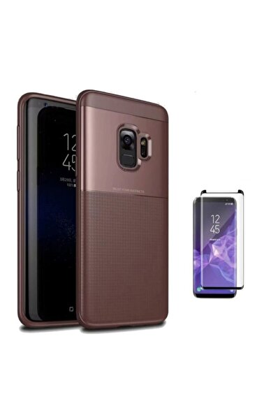 Samsung Teleplus Galaxy S9 Plus Kılıf Özel Zırh Koruma Silikonlu Bodro + Kenarı Kısa Cam Ekran Koruyucu