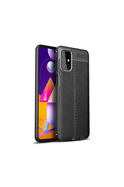 Samsung Teleplus Galaxy M51 Kılıf Deri Dokulu Silikon Siyah