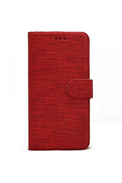 Samsung Teleplus Galaxy J7 Prime Kılıf Kumaş Spor Standlı Cüzdan Kırmızı
