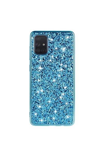 Samsung Teleplus Galaxy A71 Kılıf Lüks Pullu Glitter Silikon Mavi