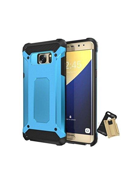 Samsung Teleplus Galaxy S7 Edge Çift Katmanlı Tank Kapak Kılıf Mavi