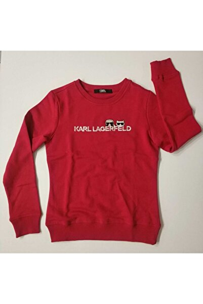 Karl Lagerfeld Kadın Kırmızı Orjinal Sweatshirt