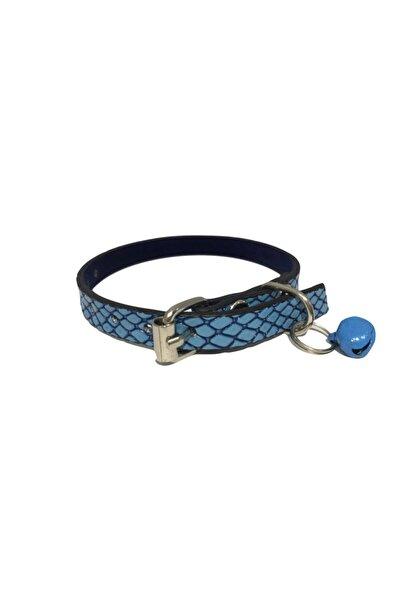 Elite Mavi Renk Kendinden Desenli Derili 1 Cm Metal Kilit Tokalı Zilli Kedi Tasması