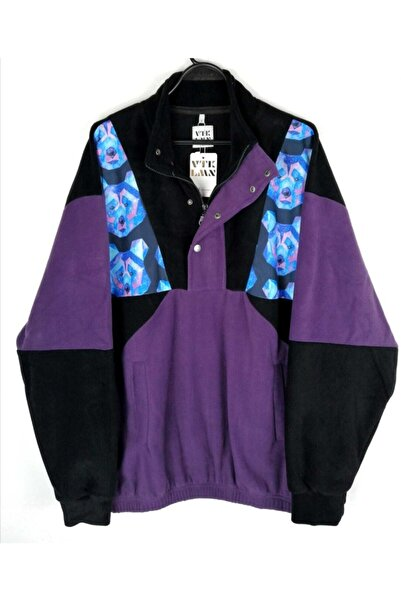 Vatkalimon Kadın Erkek Yarım Fermuarlı Polar Sweatshirt