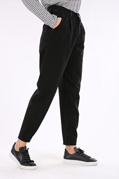 ALLDAY Kadın Siyah Mom Pileli Pamuk Pantolon