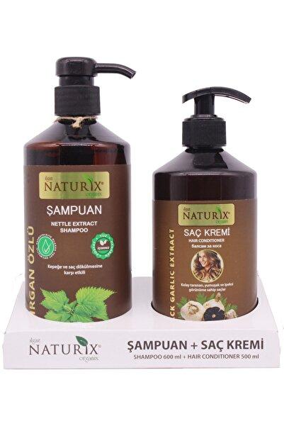 Naturix 2'li Doğal Isırgan Isırgan Otu Şampuanı 600 ml Saç Bakım Şampuanı 500 ml Siyah Sarımsak Saç Kremi