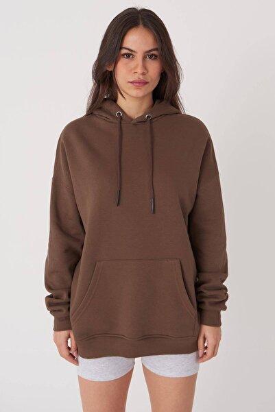 Addax Kadın Kahverengi Kapüşonlu Sweat S8641 - S1 - S2 - Z1 Adx-0000020618