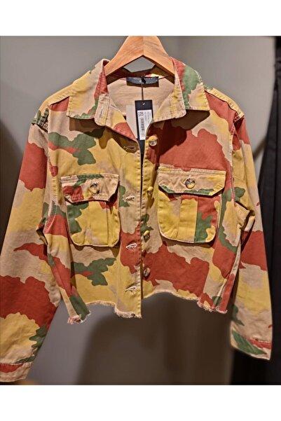 BSL Kadın Bej Kısa Kamuflaj Ceket