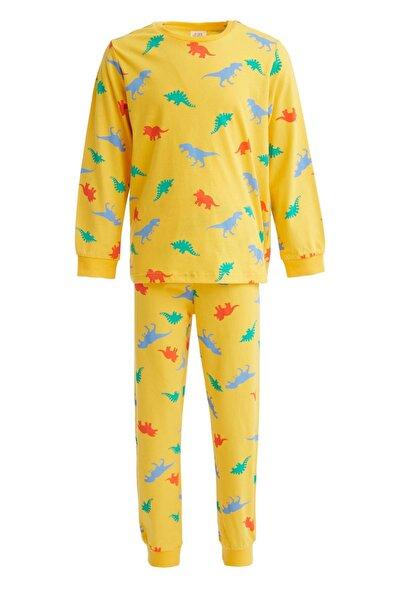 DeFacto Erkek Çocuk Sarı Dinozor Baskılı Pijama Takımı