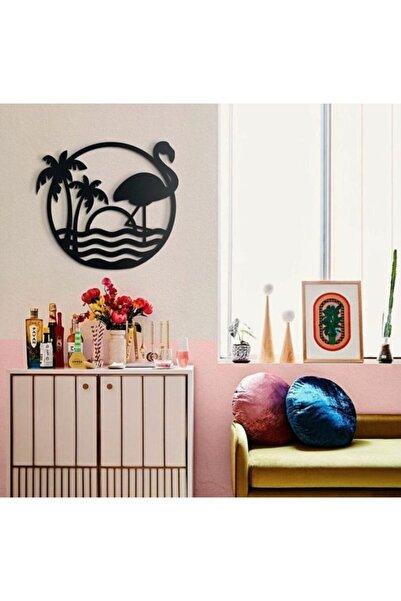 RetroLazer Flamingo Havai Siyah Ahşap Lazer Duvar Dekoru Tablo Mdf
