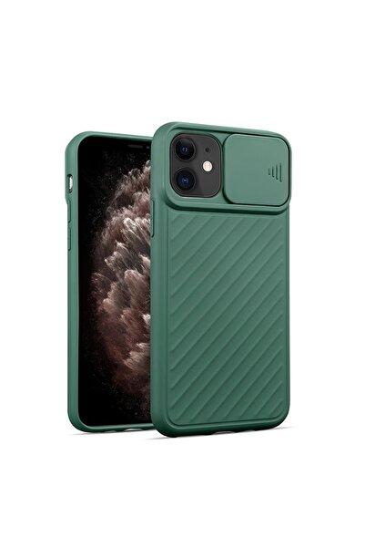Spoyi Iphone 11 Renkli Slayt Kamera Lens Korumalı Koyu Yeşil Telefon Kılıfı