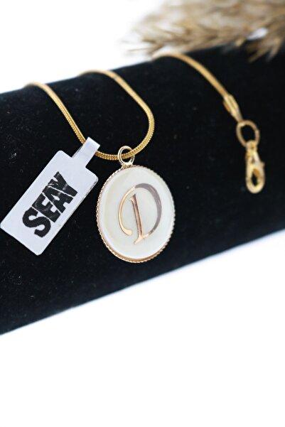 Seay D Harfi Isim Baş Harfi Kolye Altın Kaplama Zincir (60cm Zincir Dahil)