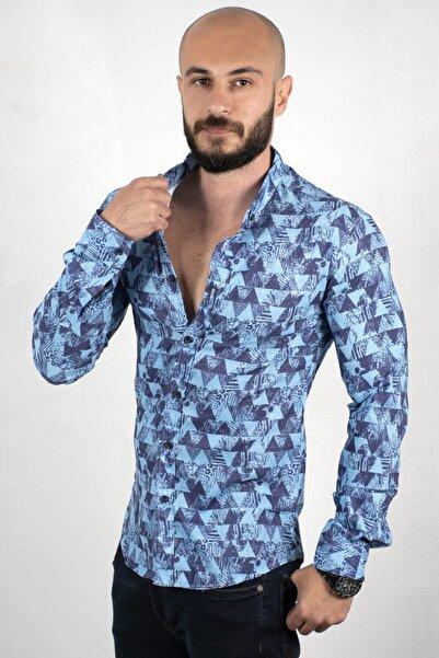DeepSEA Erkek Mavi Üçgen Desenli Dar Kesim Gömlek