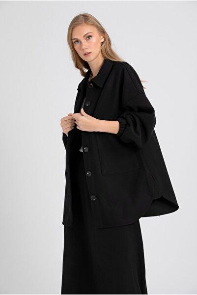 VorNişantaşı Kadın Siyah Kaşe Gömlek Ceket