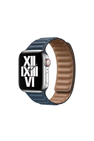 zore Apple Watch 1 2 3 4 5 6 Serisi 40mm Kordon Baklalı Model Mıknatıslı Deri Kayış Baltık Mavisi