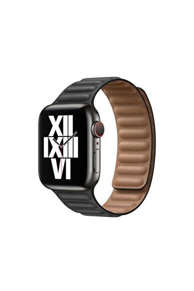 zore Apple Watch 1 2 3 4 5 6 Serisi 44mm Kordon Baklalı Model Mıknatıslı Deri Kayış