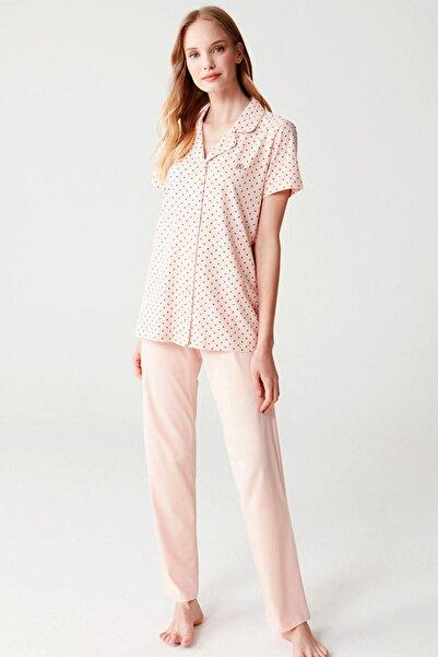 Mod Collection Önden Düğmeli %100 Pamuklu Somon Renk Kadın Pijama Takım