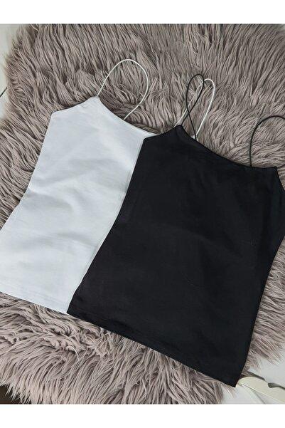 River Island Kadın 2'li Ip Askılı Uzun Model, Siyah - Beyaz Basic Büstiyer