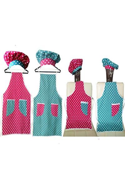 AbbasShop Analı Kızlı, Baba Oğul Kombin Şapkalı Mutfak Aşçı Önlük Takımı, 4 Adet Aile Boyu Mutfak Aşçı Önlüğü