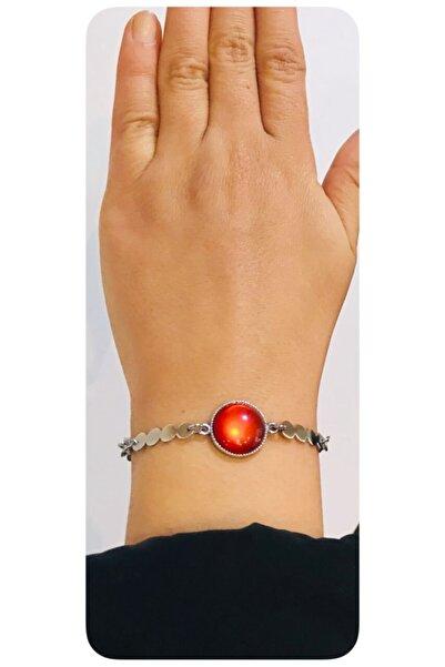 Mima Kırmızı Gümüş Renk Bileklik