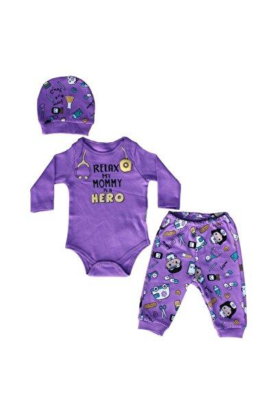 bebegen Erkek BebekRelax My Momy Is A Hero Baskılı Mor Kız Bebek Takım 3'lü