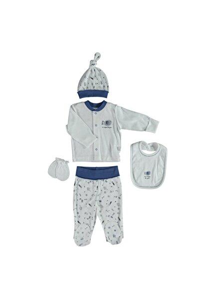 Bebetto Erkek Bebek Lacivert Desenli Ajurlu Hastane Çıkışı Zıbın Set 5'li