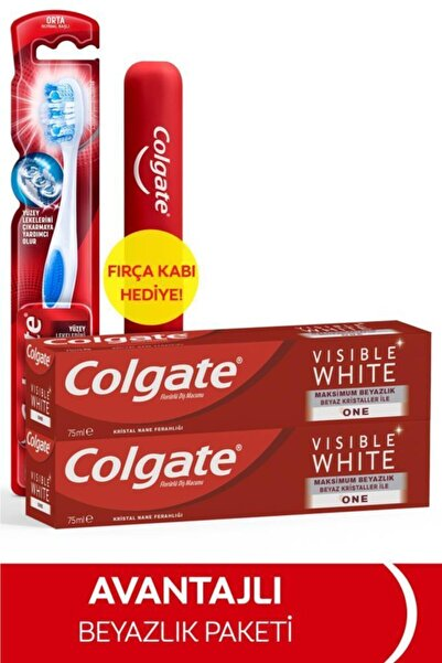Colgate Visible White Maksimum Beyazlık Diş Macunu 75 ml x 2 Adet + Fırça Kabı Hediye