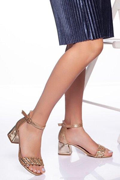 derithy Kadın Altın Klasik Topuklu Ayakkabı