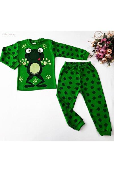 Bebekay Erkek Bebek Yeşil Kurbağa Baskılı Takım