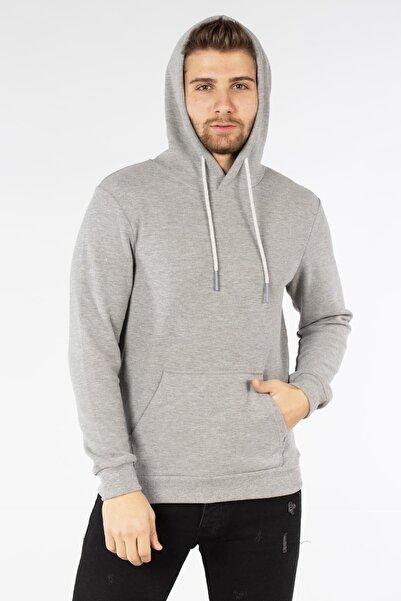BARRELS AND OIL Erkek Gri Kapüşonlu Kanguru Cepli Sweatshirt