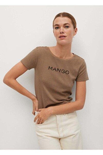 MANGO Woman Kadın Kahverengi Organik Pamuklu Logolu Tişört